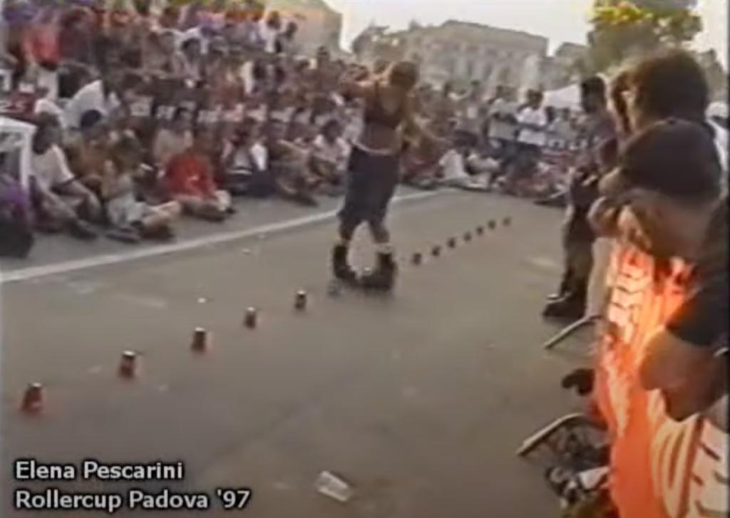 1997, una sola fila di coni ma il freestyle c'è, ed è perfettamente riconoscibile nei suoi passi base.